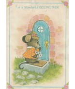Vintage Mother's Day Card Dressed Mouse at Door Godmother Hallmark 1960's - $6.92