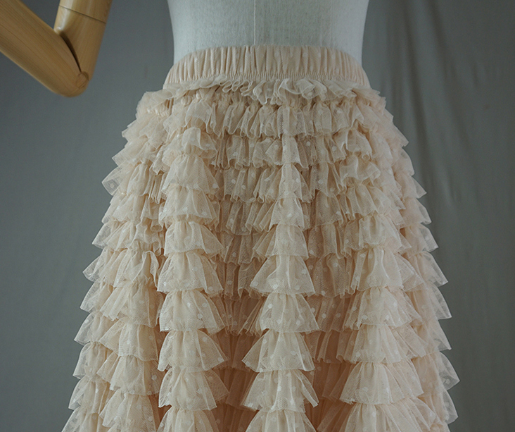 Tulle skirt champagne dot 5