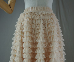 Women High Waist Tiered Tulle Skirt Polka Dot Champagne Maxi Tutu Skirt US0-US24 image 6