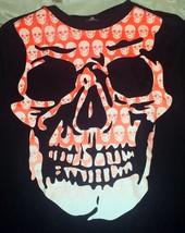 Orange Skull Skeleton Boys Halloween Long Sleeve T-Shirt -- XXL - $1.98