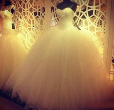 Ivory Ball Gown Tulle Wedding Dress Strapless Beaded Lace-up - $199.99