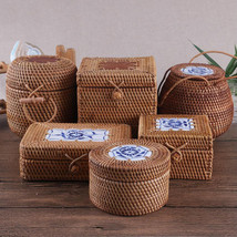Rattan box for storage with lid square and round handmade Wooden Boxes Gift - $22.71+