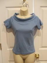 New In Pkg Newport News Blue Cowl Neck 100% Cotton Top Small - $14.84