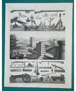 ROMAN MILITARY Engines Catapult Moving Towers Bombards - 1844 Superb Print - $9.00