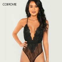 COLROVIE Black Solid Sheer Cami Skinny Lace Sexy Bodysuit Women 2019 Fas... - $37.71