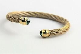 "7"" VINTAGE Jewelry 80s 90s HIGH END MOGUL TWIST METAL CUFF BRACELET GREE... - $10.00"