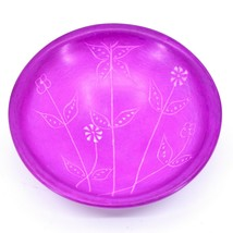 Vaneal Group Handmade Soapstone Fuchsia Spring Flower Trinket Bowl Made in Kenya