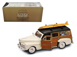 1948 Ford Woody With Wood And Surfboard Cream 1/18 Diecast Model Car by Road Sig - $112.18