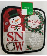 "1 Printed Jumbo Cotton Pot Holder,8"" x 8"", CHRISTMAS THEME, SNOWMAN & SN... - $7.91"