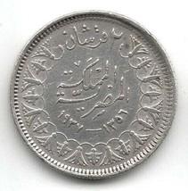 1937 Islamic EGYPT KING FAROUK 2 Piastres Silver (.833) High Grade Coin ... - $19.99
