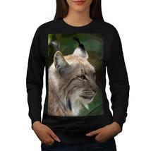Smart Face Of Lynx Cat Jumper Furry Ears Women Sweatshirt - $18.99