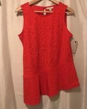 DANA BUCHMAN Women's Sleeveless PEPLUM TOP Asymmetrical Hem Fiery Red Me... - $12.89