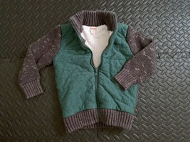 Boys Cat & Jack Heavy Thick Knit Sweater 4T Green Grey Full Zip up Winte... - $22.76