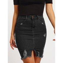 Ripped Split Denim Skirt - $28.00