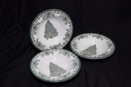 Staffordshire Engravings Yuletide Green Salad Plates and Soup Bowls image 7