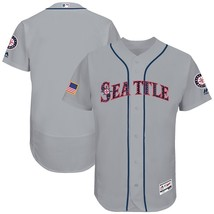 Men's Seattle Mariners Majestic Gray 2017 Stars & Stripes Flex Base Team Jerseys - $39.66