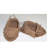 Tan Brown Leather Baby Moccasins,Hand Crafted Size 2-4 Infant Moccasins ... - $33.95