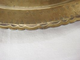 """Huge Brass Asian Tray Centerpiece Charger 22"""" Birds of Prey Rabbit Engraved HTF image 7"""