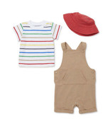 Wonder Nation Baby Boy Coverall, Tee & Bucket Hat Outfit Set, 3pc 6/9M - $14.84