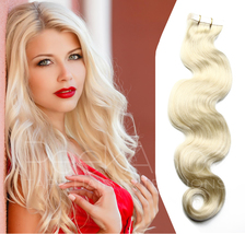 HolidaySALE! Platinum Blonde 100% Human REMY 5A Tape In Hair Extensions-... - $99.00