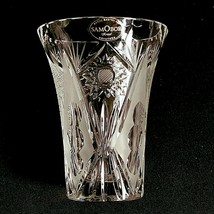 "1 (One) SAMOBOR KRISTAL Cut and Etched Crystal Vase 5"" Made in Croatia- ... - $28.49"