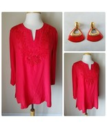Jaipur Women's Blouse Red 100% Silk Embroidered Beaded Tunic Top M + Ear... - $52.99