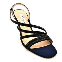 Nina New York Womens Sparkle Strappy Slingback Heels Size 5.5M  Navy Leather NEW - $39.59
