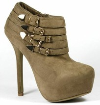 Taupe Brown Faux Suede Gold Buckle High Heel Platform Fashion Ankle Boot - $14.99