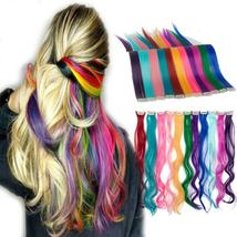 Long Natural Hair Clip In Rainbow Hair Extensions image 1
