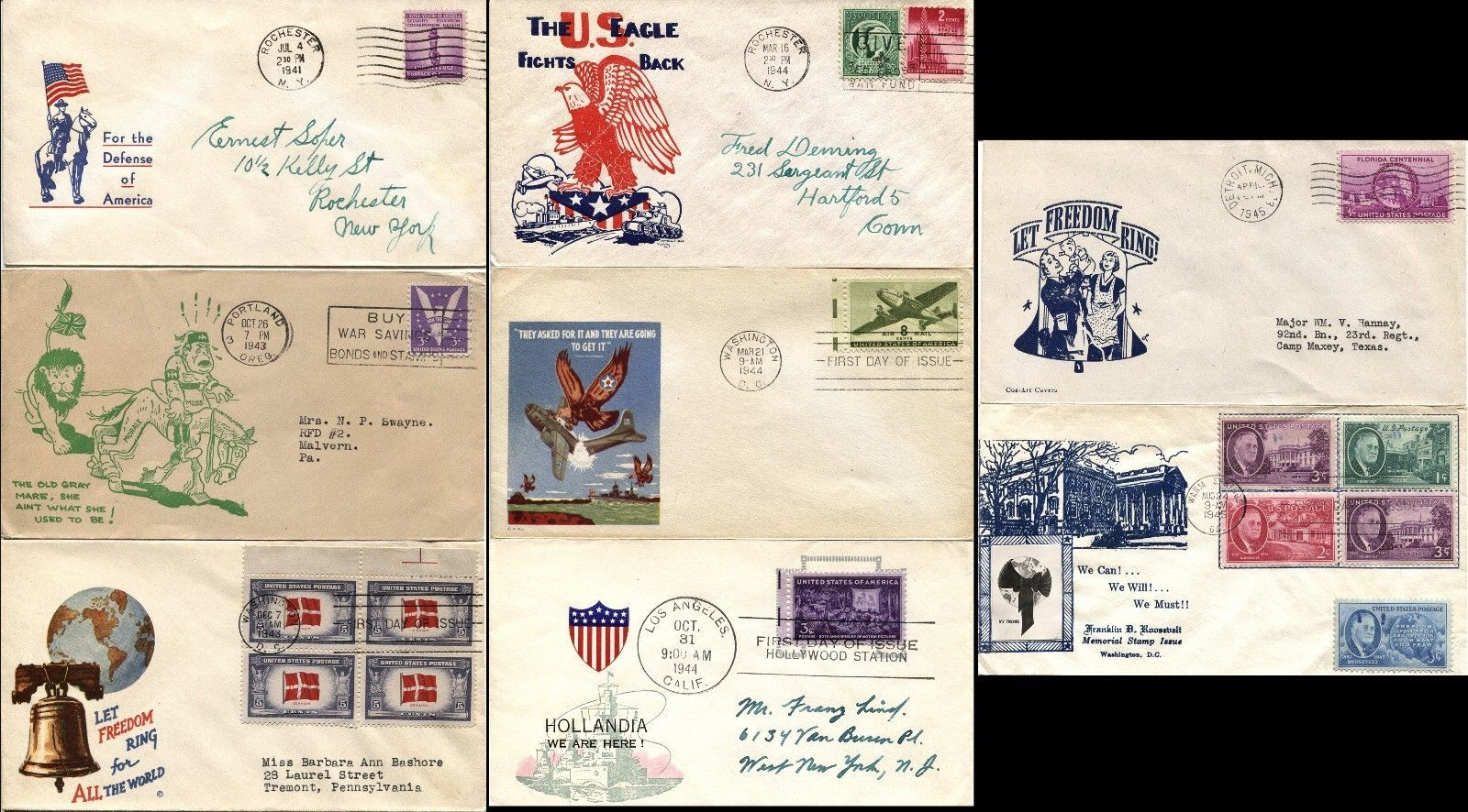 Set of 8 USA WWII WAR Patriotic Covers Envelope American w Stamps Postage USED