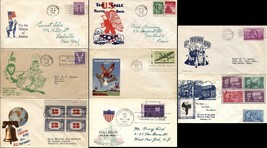 Set of 8 USA WWII WAR Patriotic Covers Envelope American w Stamps Postag... - $46.80