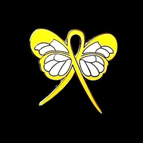 Yellow Awareness Ribbon Butterfly Pin Cancer Cause Support Inspirational New image 6