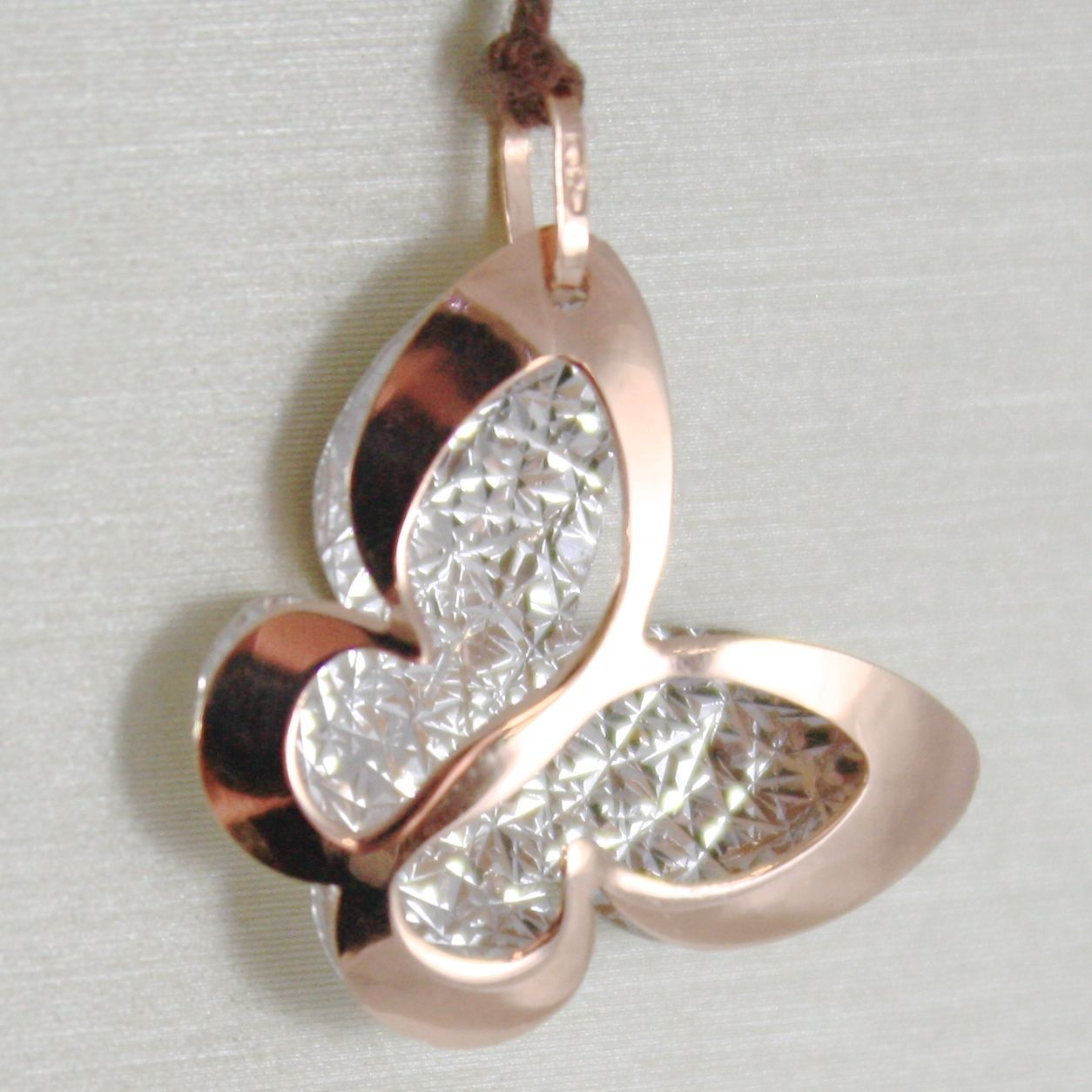 WHITE GOLD PENDANT PINK 750 18K, BUTTERFLY, DOUBLE LAYER 2 CM, MADE IN ITALY