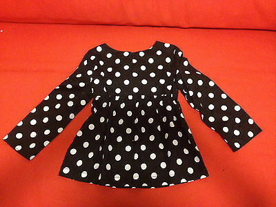 GAP Kids Girls Blouse Top 12 Babydoll Black White Polka Dot Long Sleeve Cotton image 3