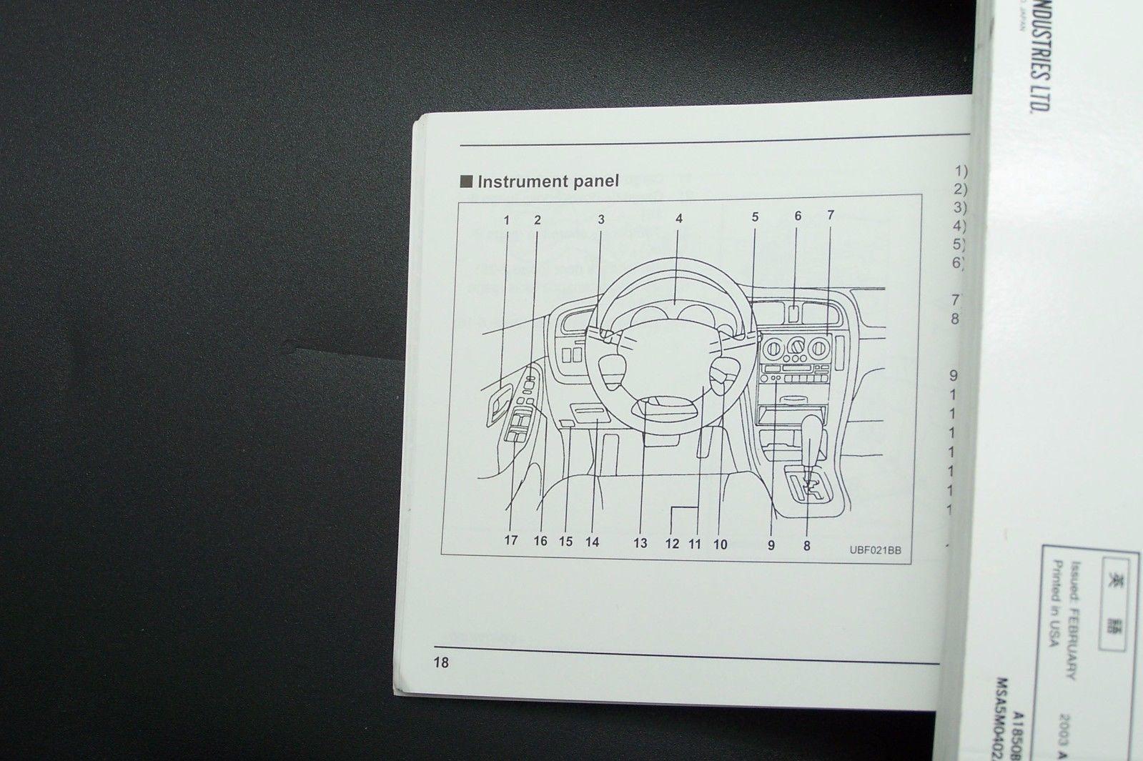 2004 subaru baja owners manual new original parts service