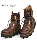 Fashion Cowhide Genuine Leather Military Uniform Boots Gothic Skull Punk... - $129.95+