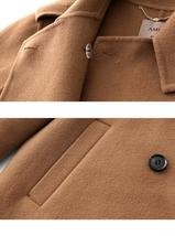 Women English Vintage Winter Solid Double Breasted Cloak 100% Wool Trench Coat image 6