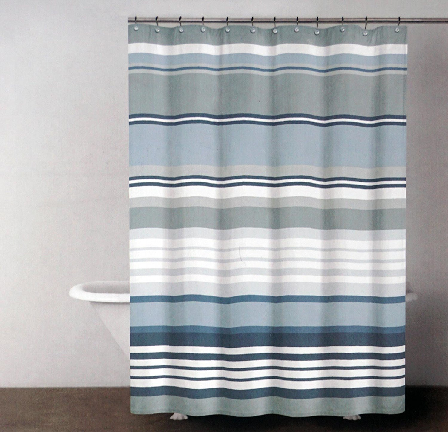Grey1 Previous DKNY Urban Lines Magnet Gray Stripe Shower Curtain