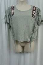 Denim & Supply by Ralph Lauren T-Shirt Sz M Grey Multi Beaded Native Fri... - $19.71
