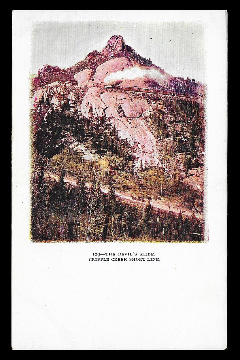 Devil's Slide Railroad Postcard Colorado Cripple Creek Short Line Embossed CO PC