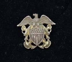 Vintage H J Sterling Silver Naval Navy Officer Hat Emblem WWII  - $29.69