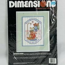 Dimensions Bathtub Bears 3100 Stamped Cross Stitch Kit 1989 New Sealed  - $15.17