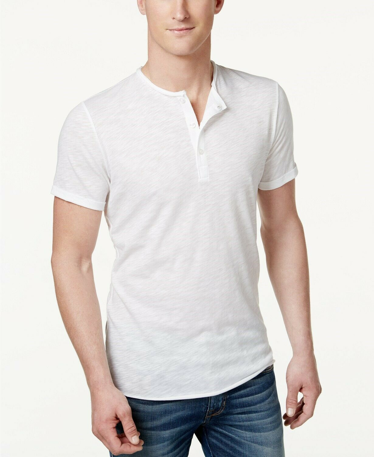 American Rag Mens Henley T Shirt Bright White Size Small - NWT