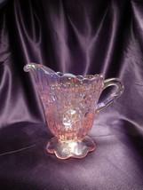 Fenton Iridescent Pink Creamer Rose Detailed Glass Art - $44.55