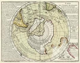 1754 Flat Earth Map Hemispheric Terres Australes Globe Wall Art Poster P... - $13.00+