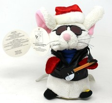 Gemmy Holiday Pals Singing Mouse Christmas Hamster White with Santa hat... - $11.29