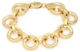 14k Yellow-Gold-Plated-Bronze Greek Key Circle Link Bracelet, 7.50 Inch By - $102.82
