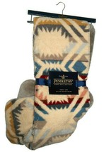 Pendleton beige / taupe Sherpa to Fleece Aztec reversible Blanket throw ... - $128.37