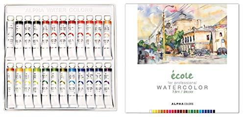 Alpha Colors New Ecole Water Colors 24 Colors 7.5ml for Professionals