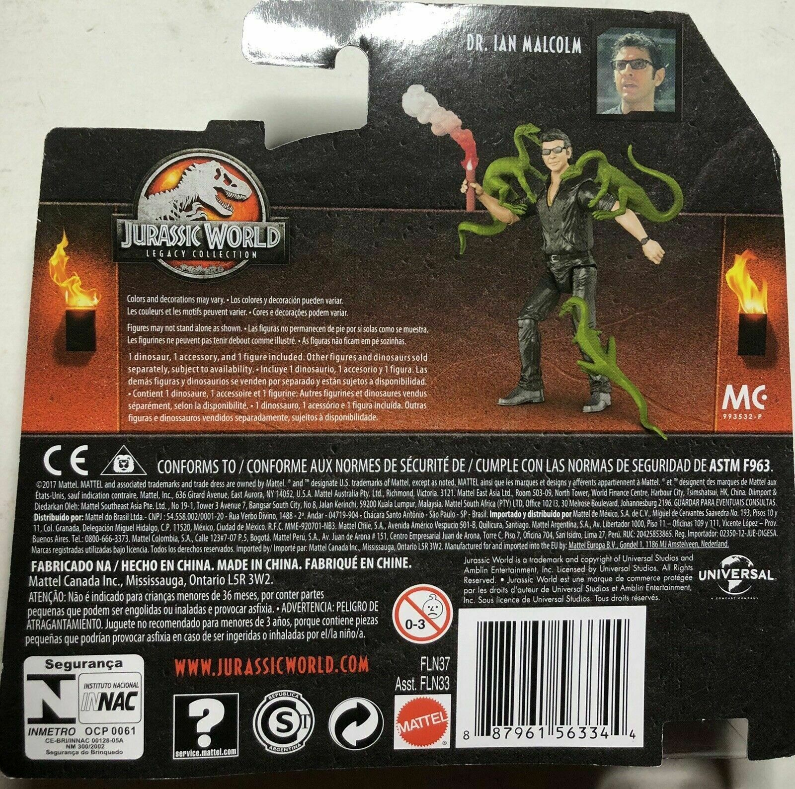 Jurassic World Legacy Dr. Ian Malcolm Figure 2018 MOC Mattel New